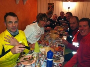 John Bishop and support team relax after the Paris to Calais cycle leg