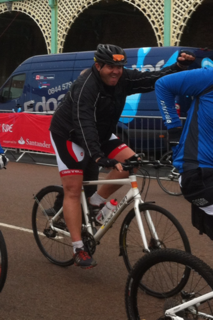Kevin crosses the finishing line