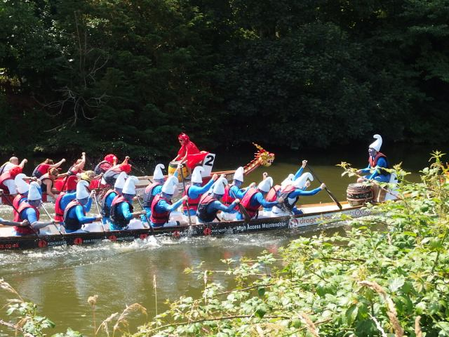 Dragon boat racing at Chippenham - with Smurfs