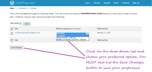 wordpress subscription alteration screen with instructions