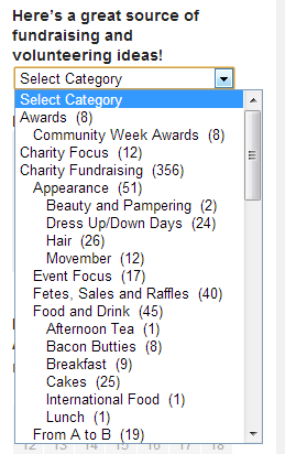 category with drop down list
