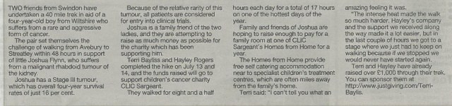 Terri Bayliss update newspaper clipping