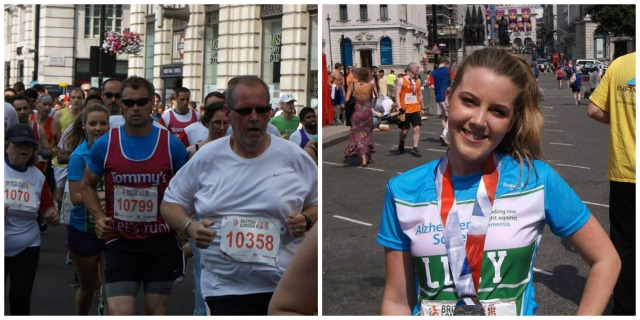 Lucy during her run, then looking pleased as punch with her medal!