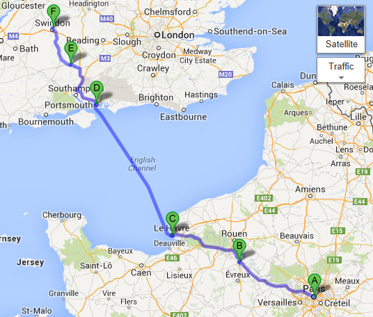 Paris to Swindon overview map