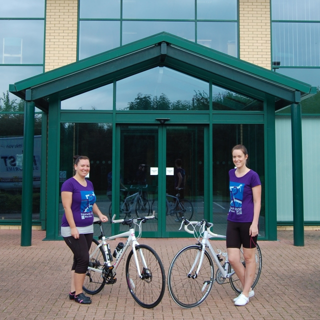 Bertrams Pair Keep Cycling Jodie and Nicola outside the office