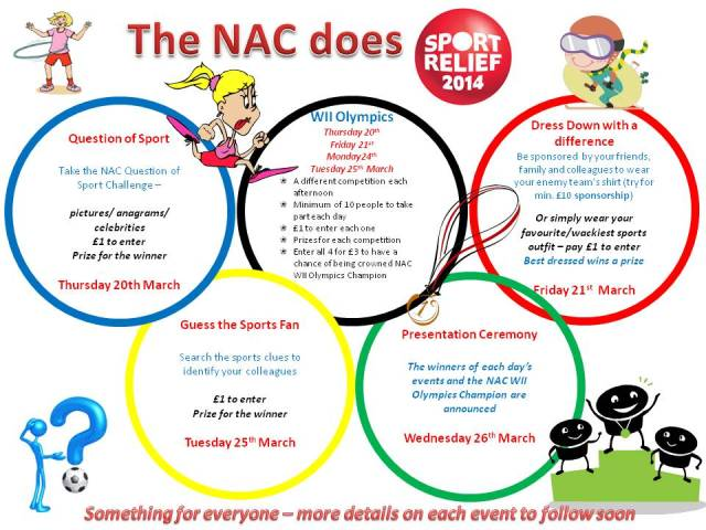Poster showing NACs Sport Relief activities