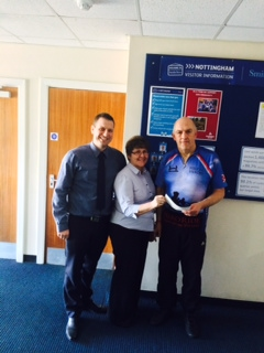 Nottingham cheque presentation to Help for Heroes