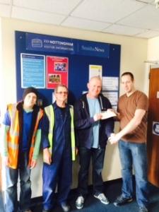 Nottingham fundraising cheque presentation