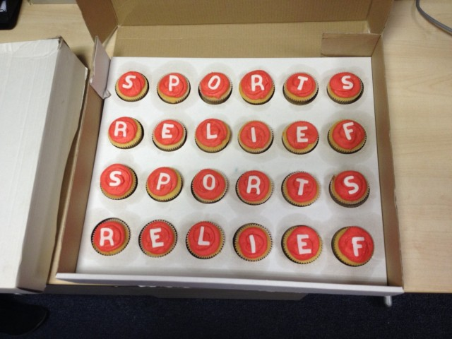 Photo of the cake made for Sport Relief 2014