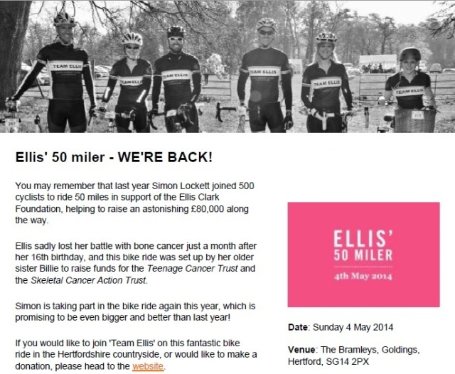 Ellis 50 Miler cycle ride information