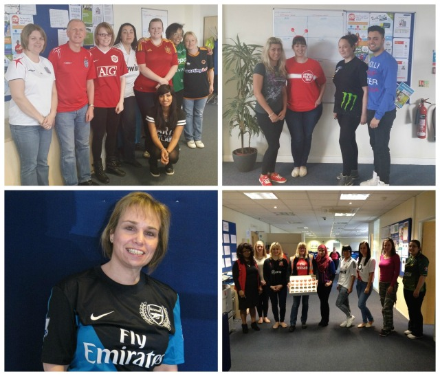 Pictures of staff sporting their team tops