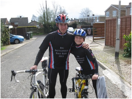 Stewart and James McGeogh in their cycling gear
