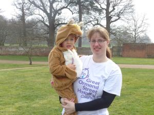 Michelle with Kieran on their sponsored walk last year
