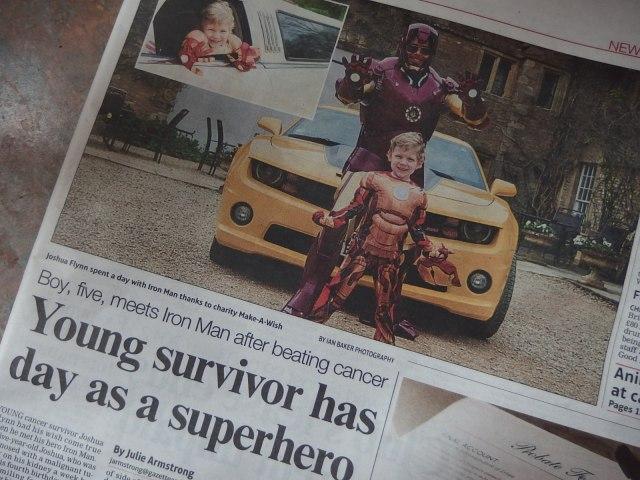 Joshua Flynn with Iron Man at his Make-a-Wish day