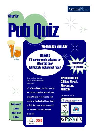 July: Worcester MSC & Instore held a Pub Quiz
