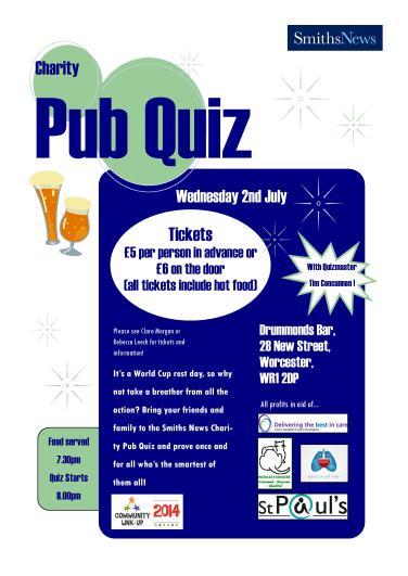 July: Worcester MSC & Instore held a Pub Quiz