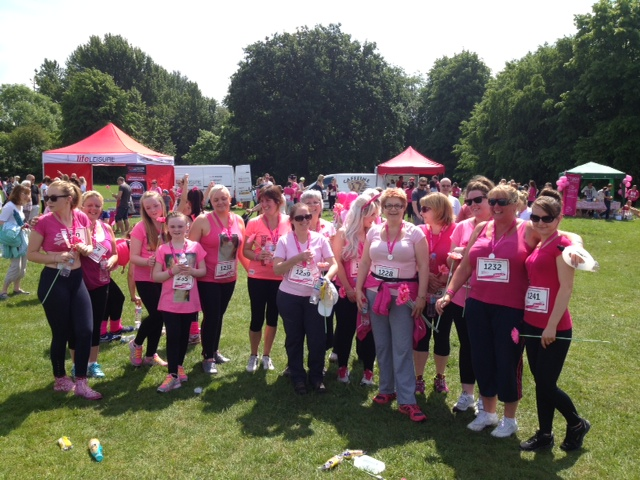 Team photo from the Race for Life event in Stockport