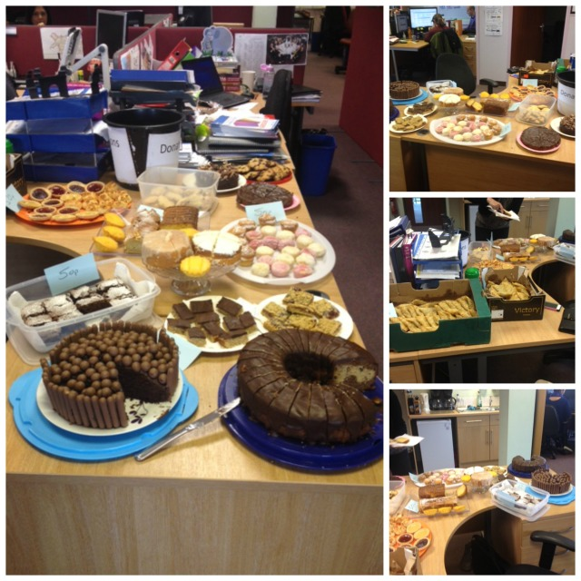 work cake sale collage