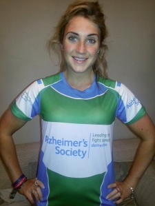Sophie Morris in her Alzheimers Society running gear
