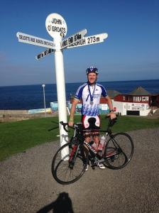 cyclist Ian Tallamy at John O'Groats