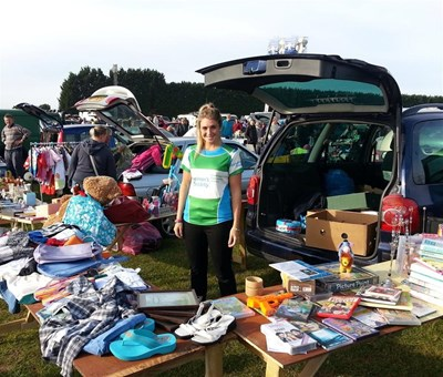 Sophie Morris fund raising at a car boot sale