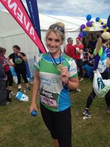 sophie after finishing her half marathon