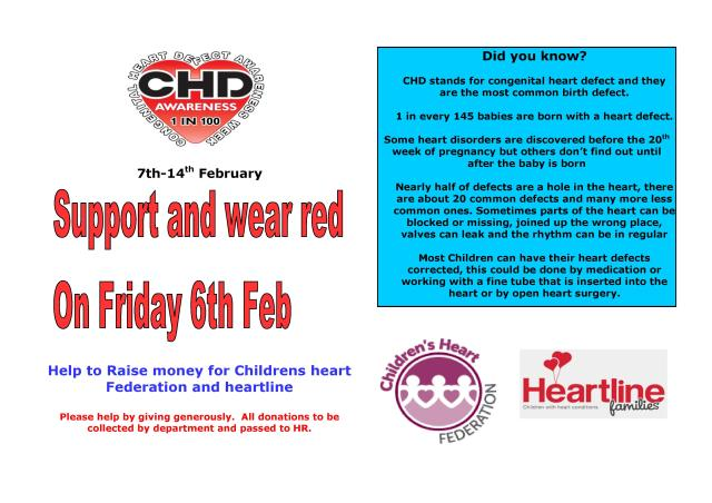 Fund raising poster for Wear Red on the 6th February