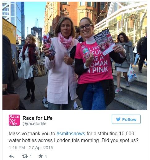 Race for Life Tweet