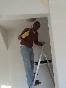 Mohammed spent a lot of the day up a ladder